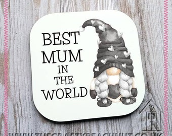 Best Mum In The World Gnome Glossy Coaster - Coffee - Tea - Hot Chocolate - Wine - Gin - Gonk - Grey - Gift - Stocking Filler. UK Seller