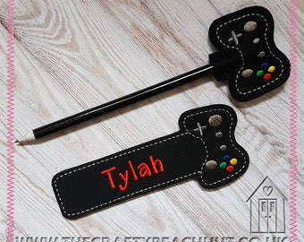 Embroidered Computer Games Controller Bookmark and Pencil Set - Personalised Gift - Party Favour - Black Suede - 100% Wool Felt - Eco Pencil