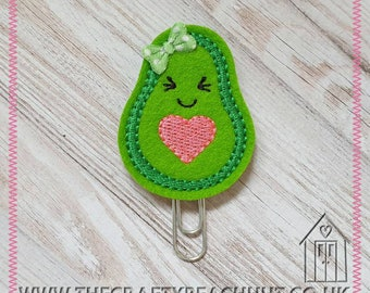 Girlie Avocado Embroidered Planner Clip - 100% Green Wool Felt - Bow - Paper Clip - Stationery - Diary - Journal - Planner Gift. UK Seller