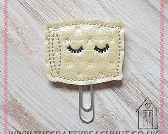 Eyelashes Pillow Embroidered Planner Clip - Quilted Sparkle Leatherette/100% WoolFelt - Paper Clip - Stationery - Diary - Journal. UK Seller