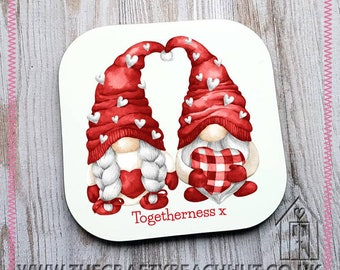 Togetherness Couple Gnome Glossy Coaster - Tea - Coffee - Hot Chocolate - Great Gift - Gonk - Love - Heart - Valentine's Day. UK Seller