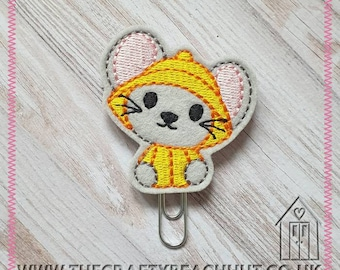 Rain Mouse Embroidered Planner Clip - 100% Grey Wool Felt - Paper Clip - Stationery - Diary - Journal - Plan - Stocking Filler. UK Seller