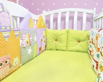 Giraffe nursey decor: crib bumper, baby boy nursery, baby girl nursery, baby crib, toddler crib,  orange nursery (013)