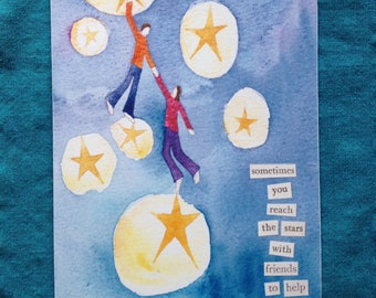 "People in the stars ""Sometimes you reach the stars with friends to help"" - Print from original watercolour painting - Blank greeting card"