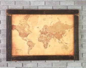 Push Pin Travel Map, World Map, Framed Push Pin Map, Wall World Map