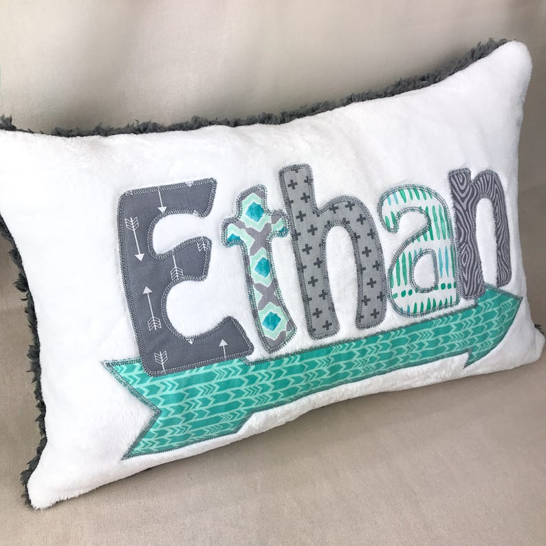Monogrammed Toddler Pillow Cover Personalized Baby Pillow Child Pillowcase Arrow camp Baby Shower Gift Monogrammed Pillow Sham Applique