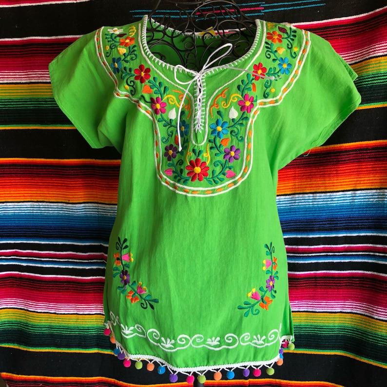baf07253f02e49 Kimono Mexican Embroidery Ladies blouse Womens Top medium | Etsy