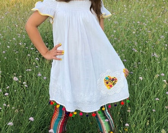White cotton upcycled dress tunic mexican embroidery one size
