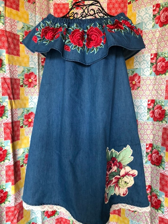 fd4bb8e5dea Shabby Chic Vintage Upcycled Dress denim rose embroidery off