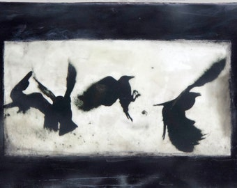 Crow Dance. Mixed media encaustic art. Birds, crows, gifts for bird-lovers.
