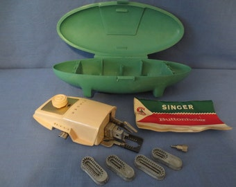 Vintage 1960 Singer Sewing Machine Buttonholer in Green Jetson Case