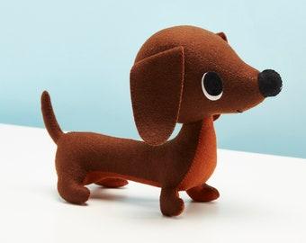Felt Dachshund ornament, cute sausage dog