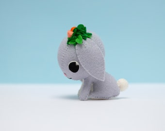 Grey floppy eared bunny rabbit ornament with rose buds, perfect rabbit lover gift