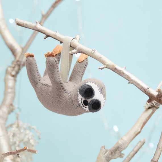 Grey Sloth hanging decoration, small Sloth gift