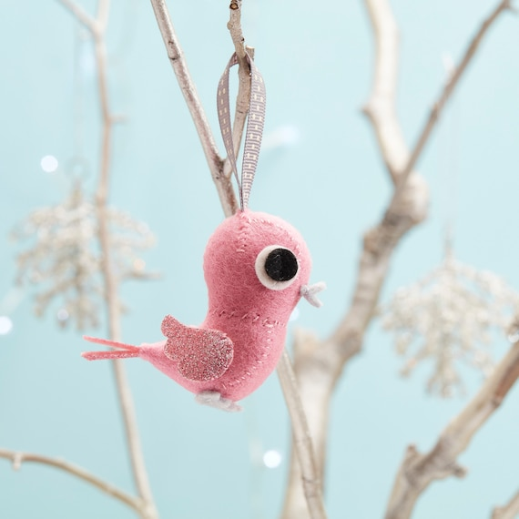 Pink glitter bird Christmas tree decoration, Small Christmas gift, Stocking filler