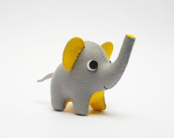Grey and yellow, felt elephant ornament. Cute elephant decor