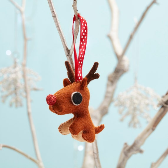 Sparkly red nose Rudolph Reindeer tree ornament, Small Christmas gift