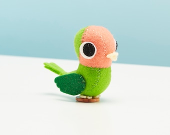 Love bird ornament - colourful felt bird, Bird lover gift, Small gift keepsake