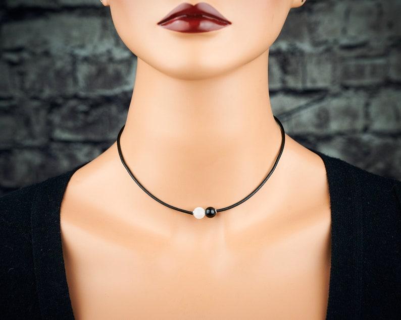 Genuine selenite black tourmaline pendant selenite black tourmaline  choker selenite black tourmaline black cord stainless steel