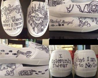 Wizarding Marauder's Map Shoes, Wizarding World of Magic, Harry Potter Wedding Shoes, Custom CoffeeCreamer Bell Design Shoes