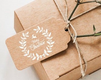 """STAMP """"Merry Christmas"""" as self-dyer or wooden stamp with stamp pad in white or black, 41 mm, for your Christmas post"""