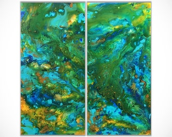 Abstract painting Acrylic Painting Fluid Painting Abstract art Wall Art Original Painting Large Wall Art Art Painting Blue Green Canvas Art