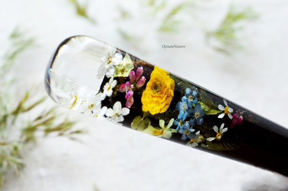 Terrarium hair pins with white flower Forget me not hair stick Resin and wood hair stick  Wooden hair fork  Wooden hair accessories