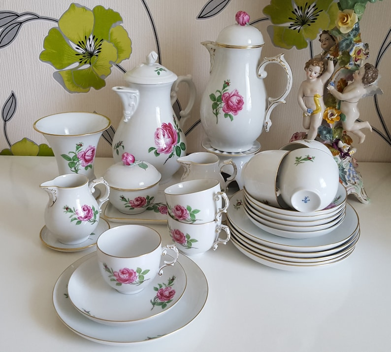 Fuerstenberg Rote Rose Tee Kaffee Service vintage | Etsy