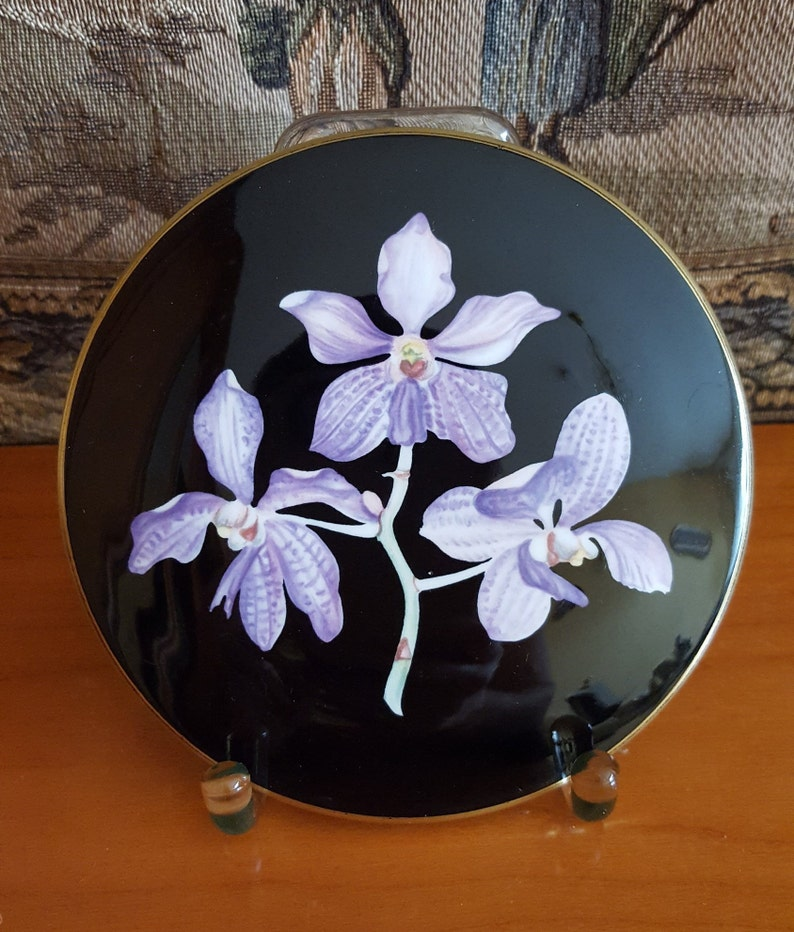 Villeroy /& Boch Orchid Porcelain Can Can Case Jewelry Box Orchids Decor vintage porcelain Germany