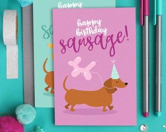 Dog birthday card / Dog card / Dog lover card / Happy birthday card / Cute birthday card / Funny birthday card / Dachshund card