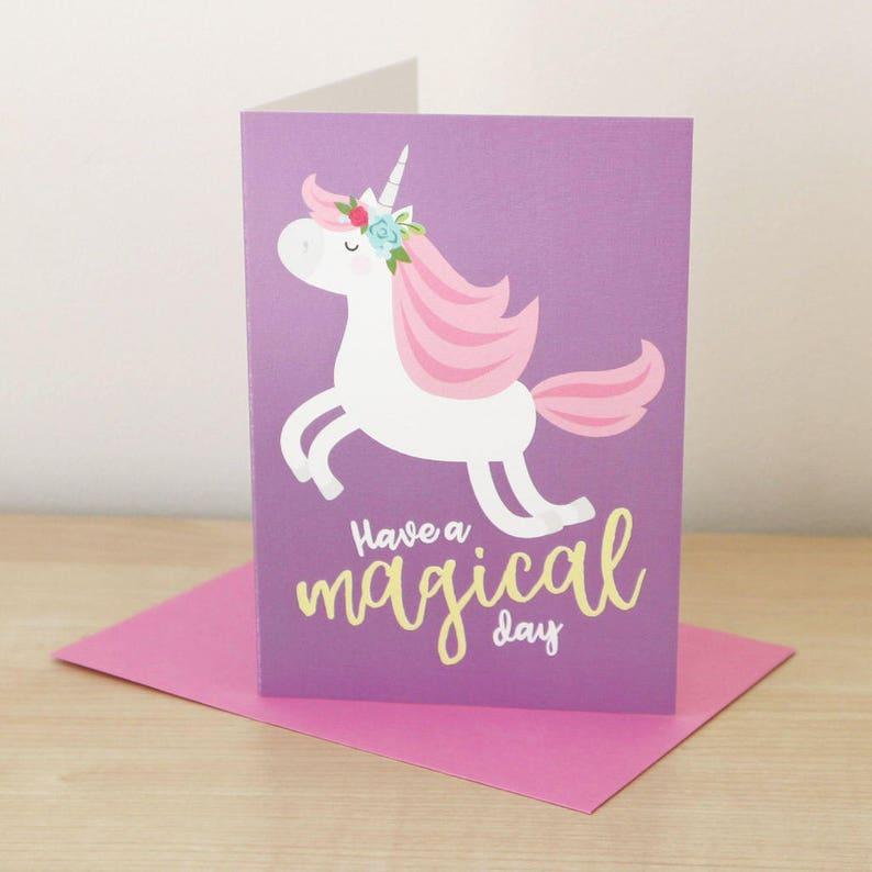 Unicorn Verjaardag Unicorn Kaart Meisjes Verjaardag Etsy