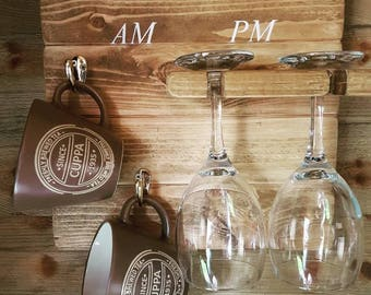 How To Tell The Time Am/Pm Mug and Wine Glass Rack