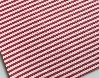 Small RED & WHITE STRIPES ,faux leather sheet, 8x11 faux leather,textured faux leather,fake leather, vegan leather, faux leather fabric