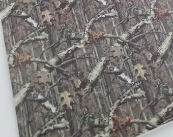 OAK LEAVES CAMO print material,faux leather sheet,8x11,camo leather,camouflage material,hunting camo material,camo fabric camo faux leather