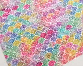 GLITTER MERMAID: Multi color fine glitter canvas sheet,8x11 canvas sheet,glitter sheet,glitter canvas,glitter fabric ,glitter material