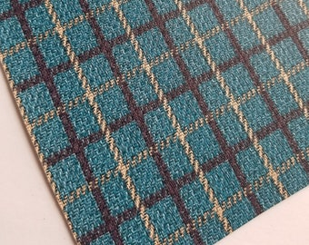 70's PLAID- BLUE/BROWN faux leather sheets, plaid faux leather, 8x11 sheets, vegan leather, faux leather material, leather fabric