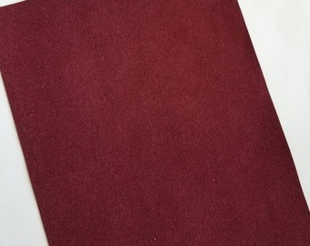 SUEDE: MAROON faux leather sheets,8x11,faux leather sheets,red suede leather, burgundy vegan leather sheet,fake leather, leather fabric