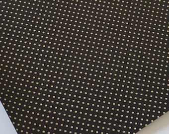 BLACK & GOLD DOTS faux leather sheet, 8x11 faux leather, black fake leather, black faux leather, black vegan leather, faux leather fabric