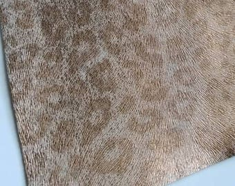 SPONGE METALLIC CHEETAH Brown leather smooth faux leather sheet, faux leather,animal print vegan leather,faux fake leather, leather fabric