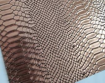 GATOR: METALLIC BRONZE faux leather sheets,8x11 canvas sheet,fake leather sheets, textured faux leather,vegan leather fabric sheet material