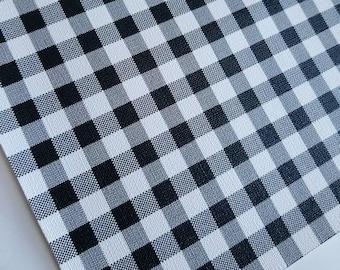 BUFFALO PLAID: BLACK & WHITe small print, faux leather, faux leather sheet,8x11 faux leather,black faux leather,vegan leather, faux leather