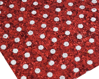 CLEARANCE: Imperfect POLKA DOTS Red chunky canvas sheet,8x11 canvas sheet,glitter sheet,minnie polka dots glitter,glitter fabric sheet