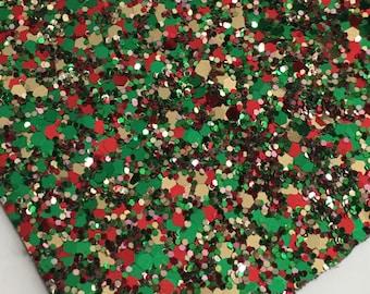 CHRISTMAS BALL chunky glitter canvas sheet,8x11 canvas sheet,red green gold glitter sheet,glitter fabric sheet,glitter fabric material