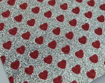 Glitter SILVER w/ RED HEARTS canvas sheet,8x11 canvas sheet,glitter sheet,glitter backed canvas,glitter fabric sheet,glitter fabric material