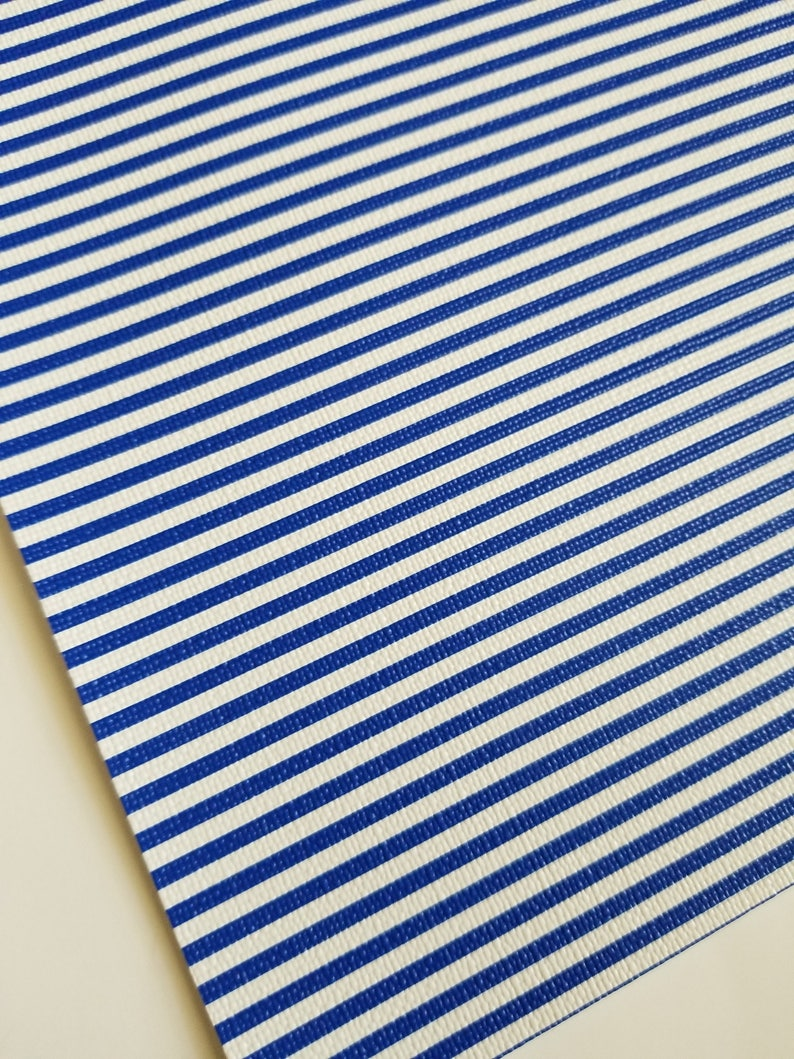 BLUE & WHITE STRIPES ,faux leather sheet, 8x11 faux leather,textured faux leather,fake leather, vegan leather, faux leather fabric, for bows photo