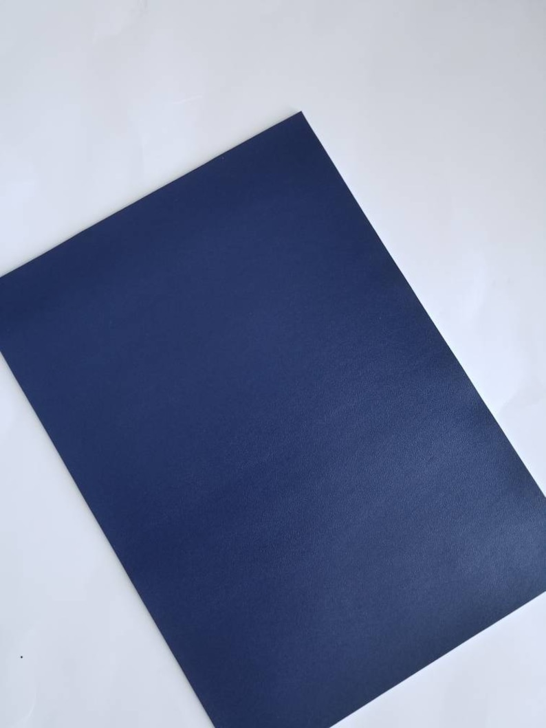NAVY BLUE SMOOTH leather faux leather sheet, 8x11 faux leather, navy faux leather,fake leather,navy blue vegan leather,faux leather fabric photo