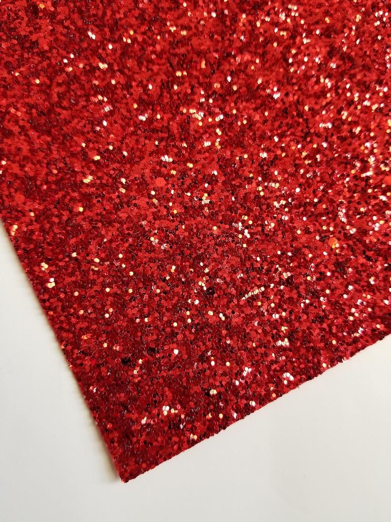 SUPER CHUNKY RED glitter canvas sheet, 8x11 sheet, red glitter sheet, chunky glitter sheet, material for bows, glitter fabric, glitter sheet photo