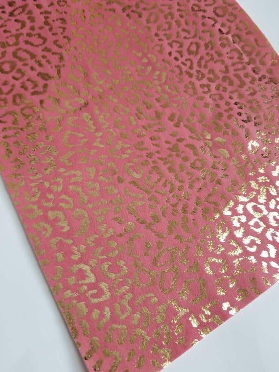 afa8a96aba METALLIC LEOPARD CORAL material faux suede sheet8x11 sheets