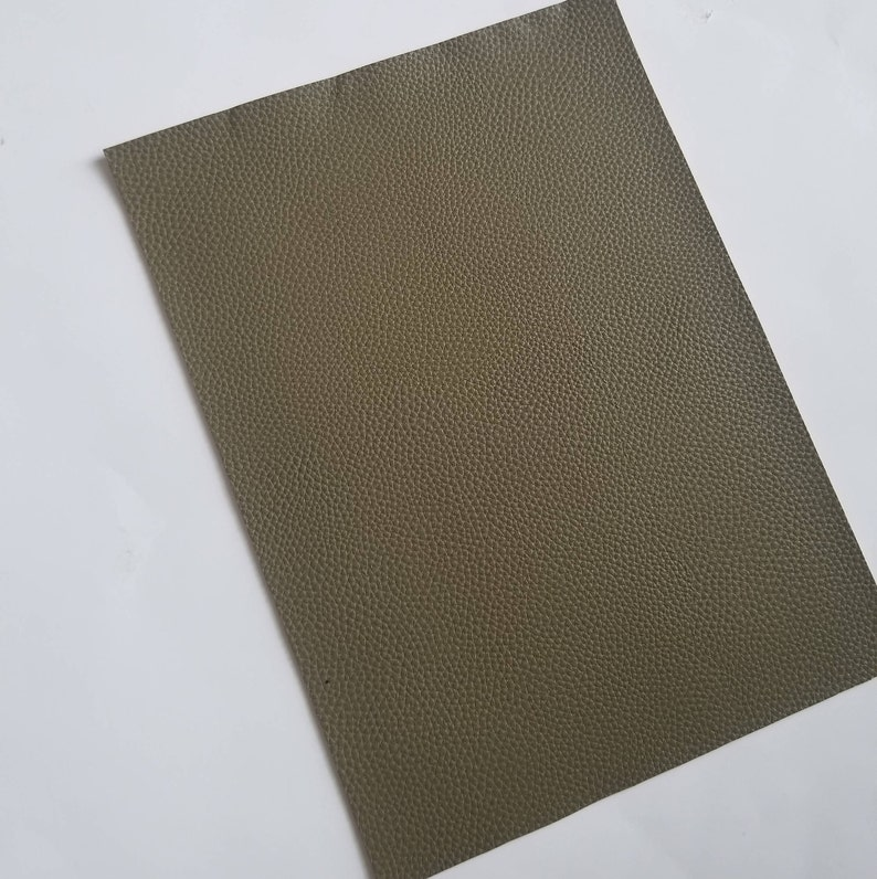 ARMY GREEN textured LEATHER faux leather sheet,8x11 faux leather sheets,fake leather,olive faux leather,vegan leather,faux leather fabric photo