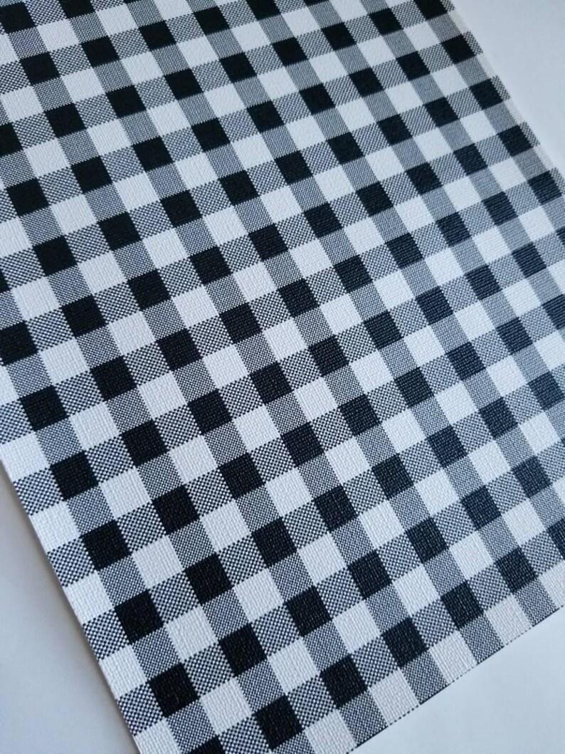 Regular BUFFALO PLAID: BLACK & WHITe small print, faux leather, faux leather sheet,8x11 faux leather, black faux leather,vegan leather photo